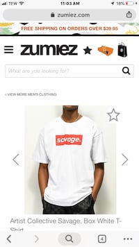 Men's large Artist Collection white box Savage logo in red from Zumiez San Clemente, 92672