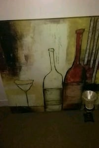 two wine bottles beside wine glass painting Lakeland, 33815