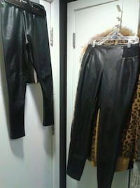 Both pairs of black leather stretchy pants for $50 Vancouver, V6B 2L2