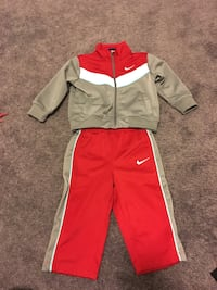 Toddler's gray-white-red nike zip-up jacket and pants