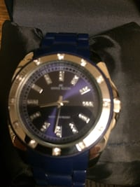 round silver and blue analog watch with blue strap Oakville, L6H 3B6