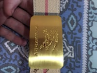 brown and pink Burberry leather belt with gold-colored buckle Halifax, B3S 1R5