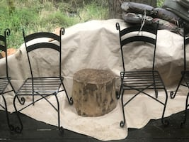 4 ornate cast iron deck chairs
