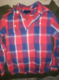 red, blue, and white plaid dress shirt Mercedes, 78570