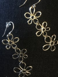 Silver  triple floral  long. earrings /  Classy and Sophisticate-fun style  for Summer Alexandria, 22311