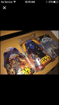 Three collectible star wars figures