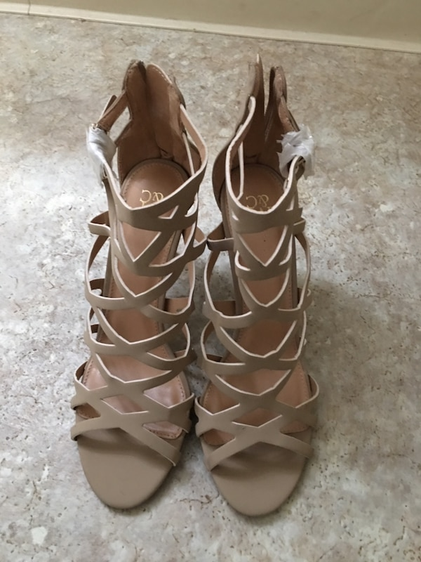 Women's brown leather strappy heeled sandals 30f85c86-3413-4ca8-af75-700aa139c9fa