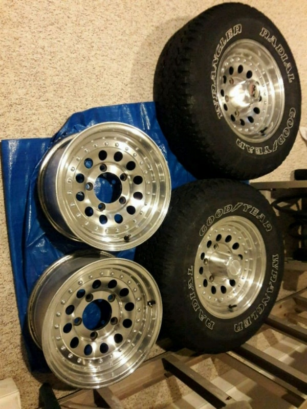 Chrome Wheels and two tires