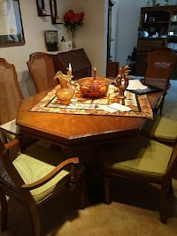 octagon brown wooden dining set