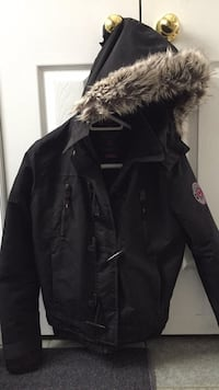 black leather zip-up parka jacket Barrie, L4M 6N1