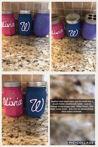 Decorative mason jars. Can be personalized, most colors available. Can be brush/supply holder, vase, toothbrush holder or change holder/piggy bank Chauvin, 70344