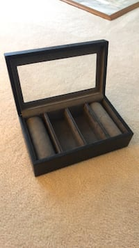 Leather watch display box/silver plate engraving Brookeville, 20833