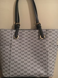 monogrammed gray and black Michael Kors leather tote bag Wichita, 67211