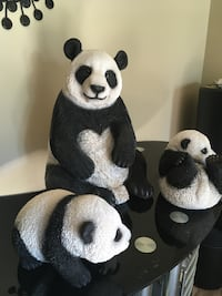 Panda bear family statues