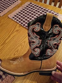 brown and black cowboy boots