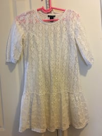 "Girls White lace dress approximate chest 36"", length 32"""