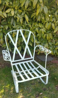 Rare Vintage Woodard Wrought Iron Patio Rocker
