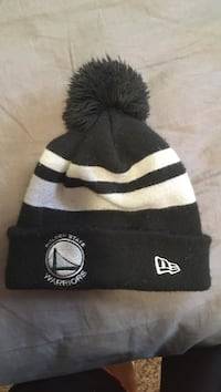 black and white Golden State Warrior puff knit cap