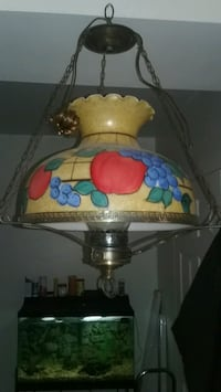 Vintage brass / stain glass ceiling light