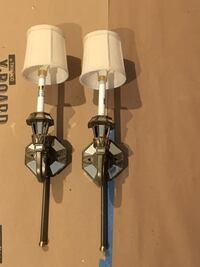 From Horchow:  Mirrored Sconce with Linen Shade Savannah, 31401