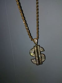 gold money sign necklace Clyde, 28721
