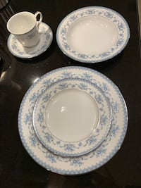 45 piece white-and-blue floral ceramic plates East Brunswick, 08816