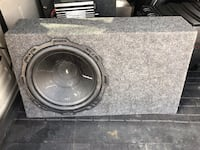"""Black and gray subwoofer speaker box.  Great condition except something is wrong with the 10 """" sub Walled Lake, 48390"""