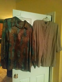 2 Ladies long sleeved shirts. 18W, 18-20 Stafford, 22554