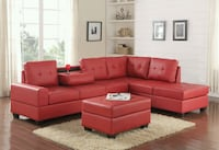 HAPPY HOMES Red Faux Leather Reversible Sectional  1211 mi