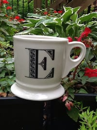 "Anthropologie Monogram Stoneware Coffee Cup - Letter ""E"" - Shaving Style Mug - Like New"