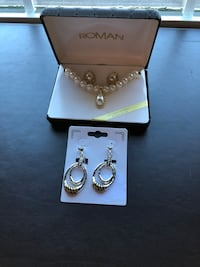 New costume jewelry~ white roman pearl necklace and earrings set. and two tone earrings.