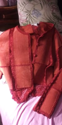 Stunning leather suede lace orange color jacket Fort Myers