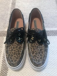 Sperry Animal Print Topsider Slip on Shoes Size 7.5