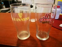 two clear glass beer mugs