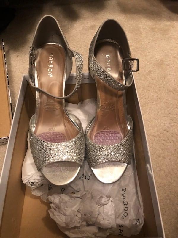 Silver Party shoes worn once d47486ba-f098-4def-a469-813d61635711