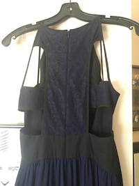 women's blue and black cut-out back-zip dress