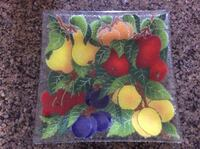 Limited Edition Handcrafted Peggy Karr Harvest Fruit Fused Art Glass Square Plate Madison, 53726