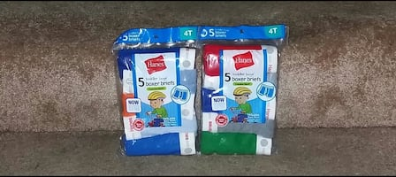 Hanes Toddler Boys Boxer Briefs Size 4T 5 Pack