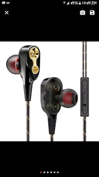 black and red earphones, Extra Bass