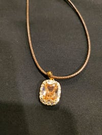New Brazillian Citrine pendant on brown cord Burtonsville