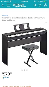 Yamaha P45 keyboard with furniture stand and bench Plano, 75074