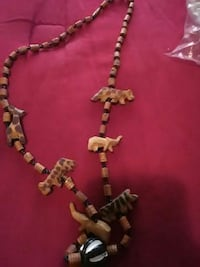 brown wooden animal beaded necklace