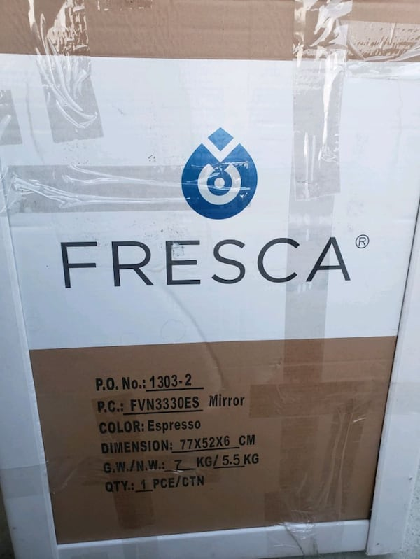Brand new out the box Fresca vanity sink mirror included  0