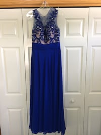 Women's blue sleeveless long gown