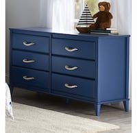 SCRATCH AND DENT, Blue Kids 6 Drawer Dresser with Cute Handles