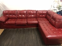 Red leather tufted sectional sofa pick up only non negotiable Mississauga, L4X