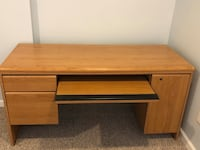 brown wooden single-pedestal desk Frederick, 21703
