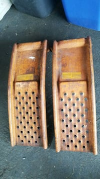 two brown wooden car ramps