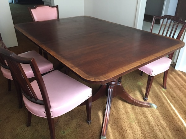 Duncan Phyfe Round Table With Drawer.Vintage Duncan Phyfe Dining Table 6 Chairs