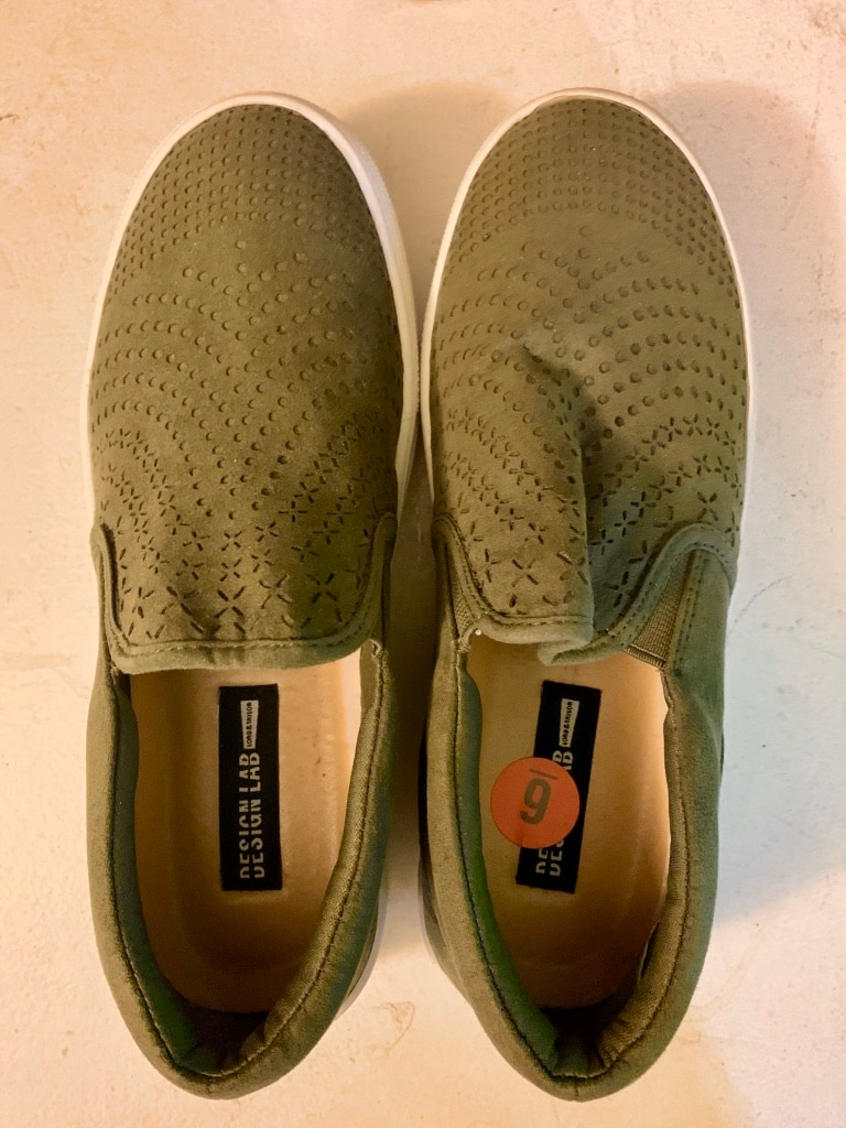 Photo Size 6 super cute olive green slip-on canvas shoes